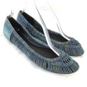 Ballet flats woven braided blue slip on shoes 9 B